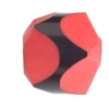 "Resin Bead Fancy Facet.18x12mm 8"" Str (approx.13pcs.) Red/Black"